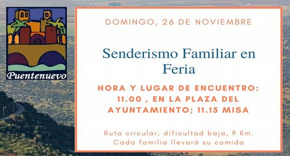 DOMINGO 26. SENDERISMO FAMILIAR EN FERIA