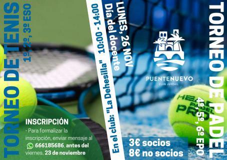 Lunes 26 gran torneo de tenis y pádel