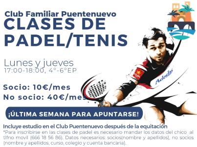Lunes y Jueves Padel/Tenis y +